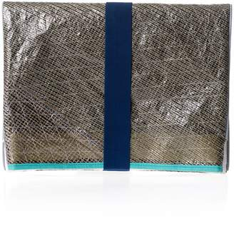 Huner Fold Over Clutch 0027 With Turquoise Stripe