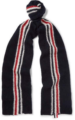 Thom Browne Striped Intarsia Wool and Mohair-Blend Scarf - Midnight blue