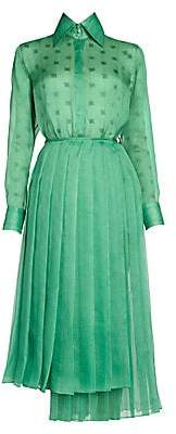Fendi Women's Feathered Organza Shirtdress with Pleated Skirt