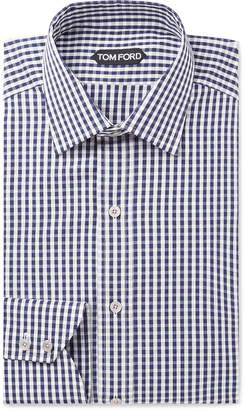 Tom Ford Slim-Fit Gingham Cotton-Poplin Shirt - Men - Blue