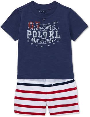 Polo Ralph Lauren Baby Boys Cotton Jersey Henley Shirt & Striped Shorts Set