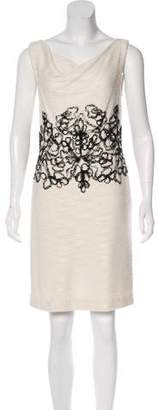 Couture St. John Lace-Accented Mini Dress