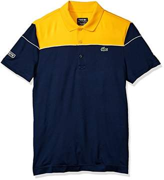 Lacoste Men's Short Sleeve Pique Ultra Dry with Colorblock and Contrast Piping Polo