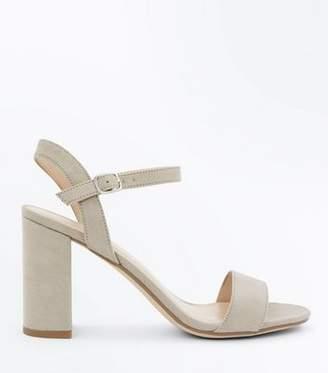 New Look Grey Suedette Block Heel Sandals