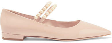 Miu Miu - Faux Pearl-embellished Patent-leather Point-toe Flats - Blush