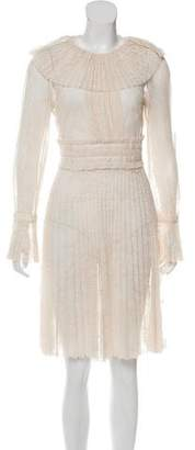 Tara Jarmon Sheer Lace-Accented Dress