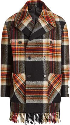 Calvin Klein Printed Wool Jacket with Fringed Hem
