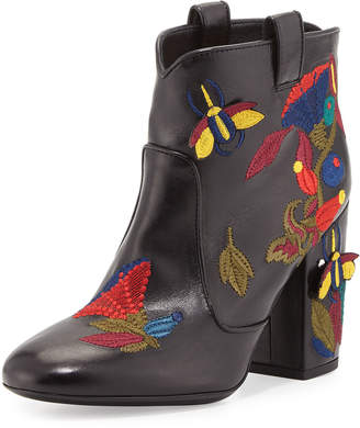 Laurence Dacade Pete Embroidered Leather Western Boot, Black Pattern