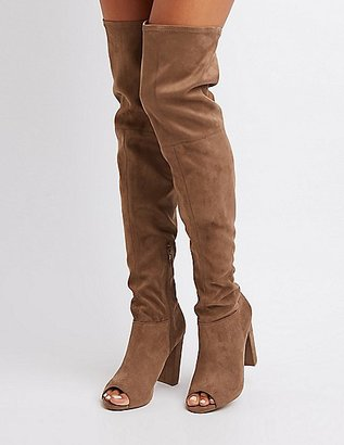 Peep Toe Over-The-Knee Boots $52.99 thestylecure.com