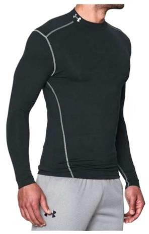Under Armour ColdGear Armour Compression Mock-Neck Shirt - Long-Sleeve - Men's Black/Steel, XL