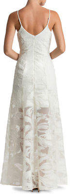 Dress the Population Florence Embroidered Illusion-Skirt Evening Gown