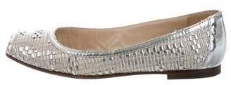 Fendi Metallic Peep-Toe Flats