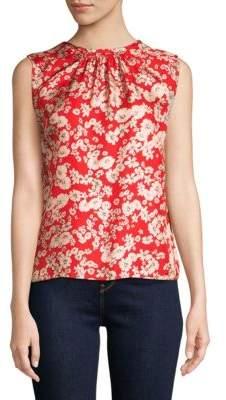 Rebecca Taylor Cherry Blossom-Print Silk Top