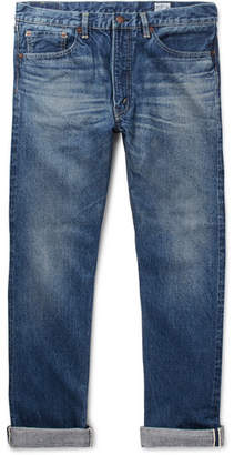 orSlow 107 Slim-Fit Washed Selvedge Denim Jeans - Mid denim
