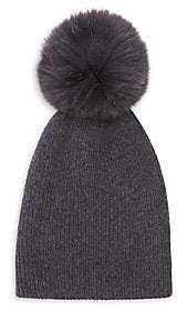 Saks Fifth Avenue Women's Knit Cashmere & Fox Fur Pom-Pom Hat