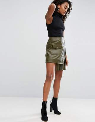 ASOS Leather Skirt with Pleated Sides $158 thestylecure.com