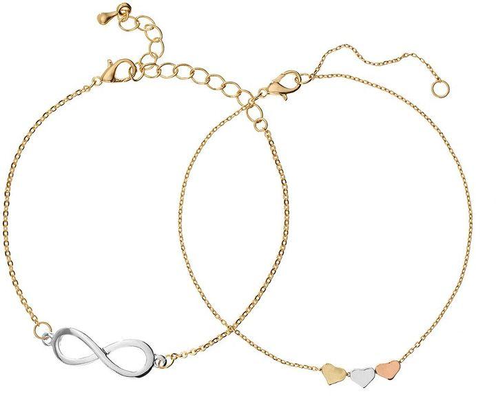 Candies Candie's ® tri-tone heart bead & infinity bracelet set