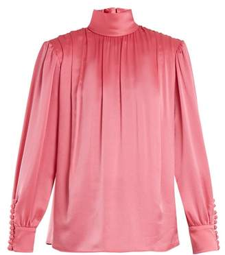 Gucci Roll Neck Gathered Silk Charmeuse Blouse - Womens - Pink