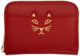 Charlotte Olympia Red Mini Feline Zip Wallet
