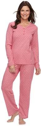Croft & Barrow Women's Jacquard Henley Tee & Pants Pajama Set