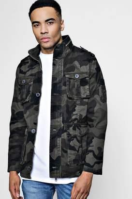boohoo Zip Detail Camo Field Jacket