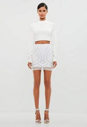 Missguided White Embellished Mini Skirt