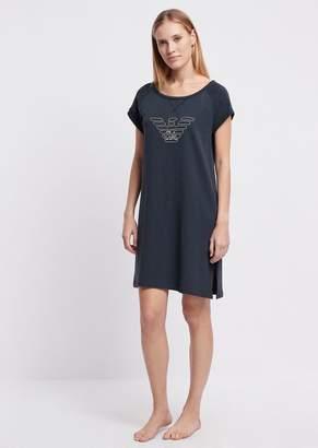 Emporio Armani Sleepshirt In Cotton Fleece With Logo Print