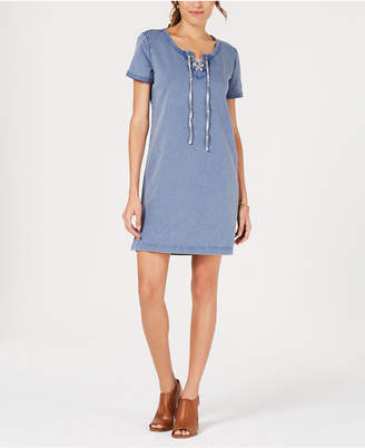 Style&Co. Style & Co Lace-Up Cotton T-Shirt Dress, Created for Macy's