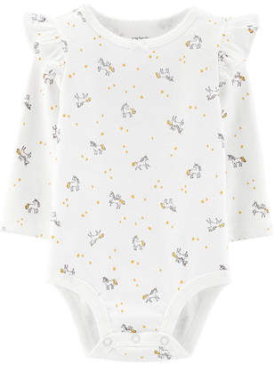 Carter's Slogan Long Sleeve Bodysuits - Girls Nb-24m Bodysuit - Baby