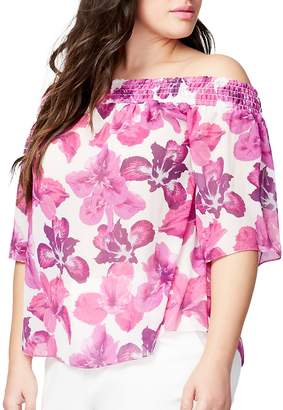 Rachel Roy Women's Plus Floral Off-the-Shoulder Top - Cream Pink, Size 1x (14-16)