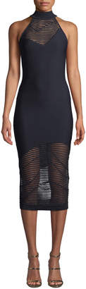 Cushnie Nylon-Stripe Mock-Neck Sleeveless Body-Con Dress