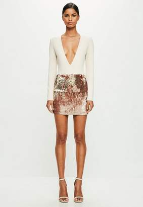 Missguided Nude Long Sleeve Plunge Bodysuit