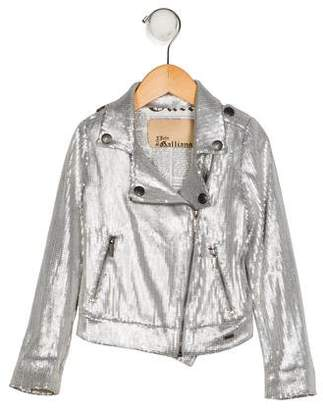 John Galliano Girls' Sequin Moto Jacket