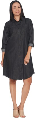 Joan Rivers Classics Collection Joan Rivers Petite Length Lightweight Denim Dress w/ Fringe Hem