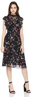 Suite Alice Sleeveless V Neck Ruffle Shoulder Dress Print