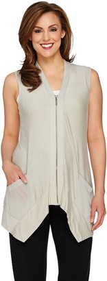 Logo By Lori Goldstein LOGO by Lori Goldstein Slub Knit Vest with Zip Front Closure