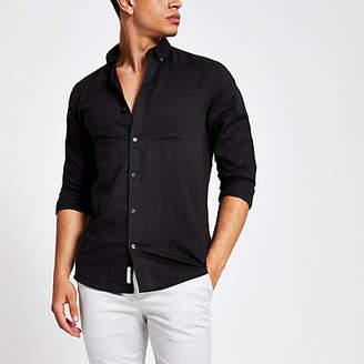 River Island Black linen long sleeve shirt