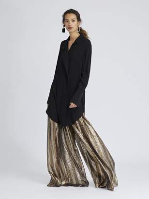 Oscar de la Renta Striped Lame Mousseline Wide-Leg Pants