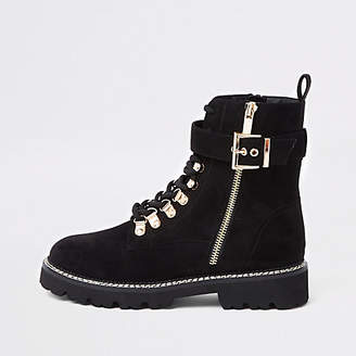 River Island Black buckle lace-up ankle boots