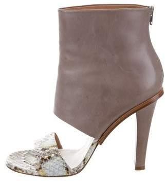 Maison Margiela Leather Python-Trimmed Sandals