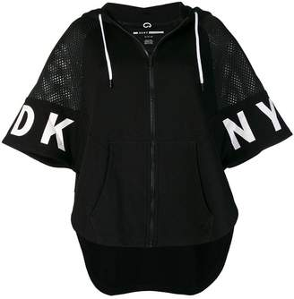 DKNY net insert short sleeve hoodie