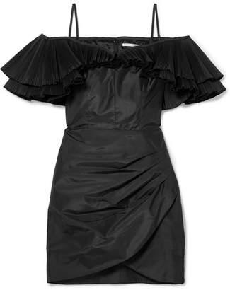 Alessandra Rich - Ruffled Silk-blend Taffeta Mini Dress - Black