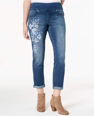 Style&Co. Style & Co Floral-Print Pull-On Boyfriend Jeans, Created for Macy's
