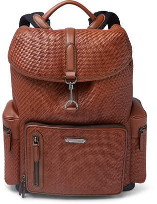 Ermenegildo Zegna Pelle Tessuta Burnished-Leather Backpack
