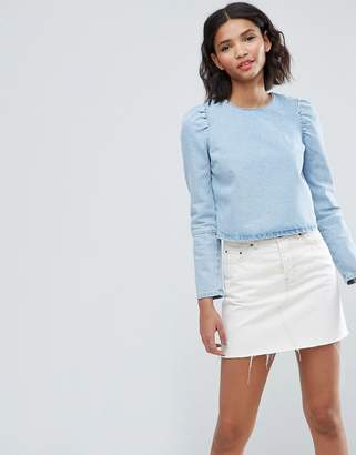 Asos Denim Top in Midwash Blue With Exaggerated Shoulder