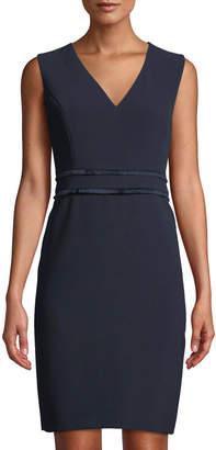 Karl Lagerfeld Paris Fringe-Waist V-Neck Sheath Dress