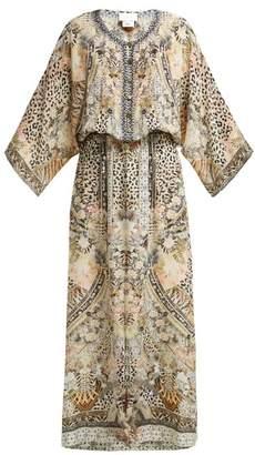 Camilla Leopard Print Silk Sun Dress - Womens - Leopard