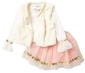 Nicole Miller Ruffle Sleeve Top, Faux Fur Vest & Sequin Trim Tulle Skirt Set (Little Girls)