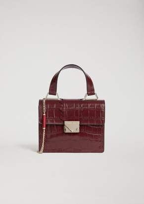 Emporio Armani Mini-Bag In Croc Print Leather With Shaped Detail And Shoulder Strap