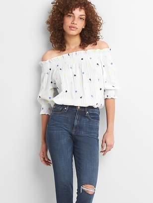 Gap Off-Shoulder Floral Embroidered Blouse